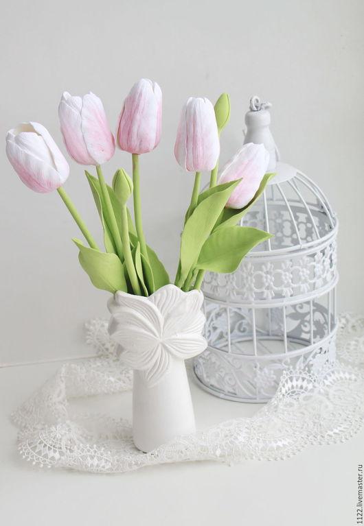 Букеты ручной работы. Ярмарка Мастеров - ручная работа. Купить Букет тюльпанов. Handmade. Бледно-розовый, тюльпаны