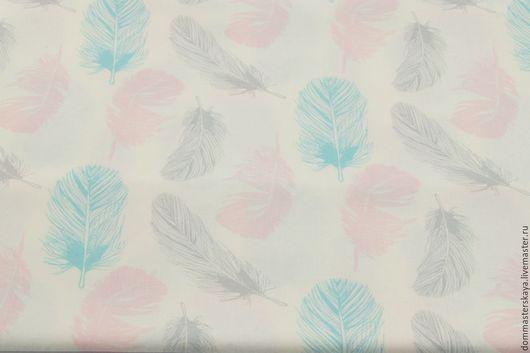 Шитье ручной работы. Ярмарка Мастеров - ручная работа. Купить 100% хлопок, Польша, перья розово-голубые. Handmade. Хлопок