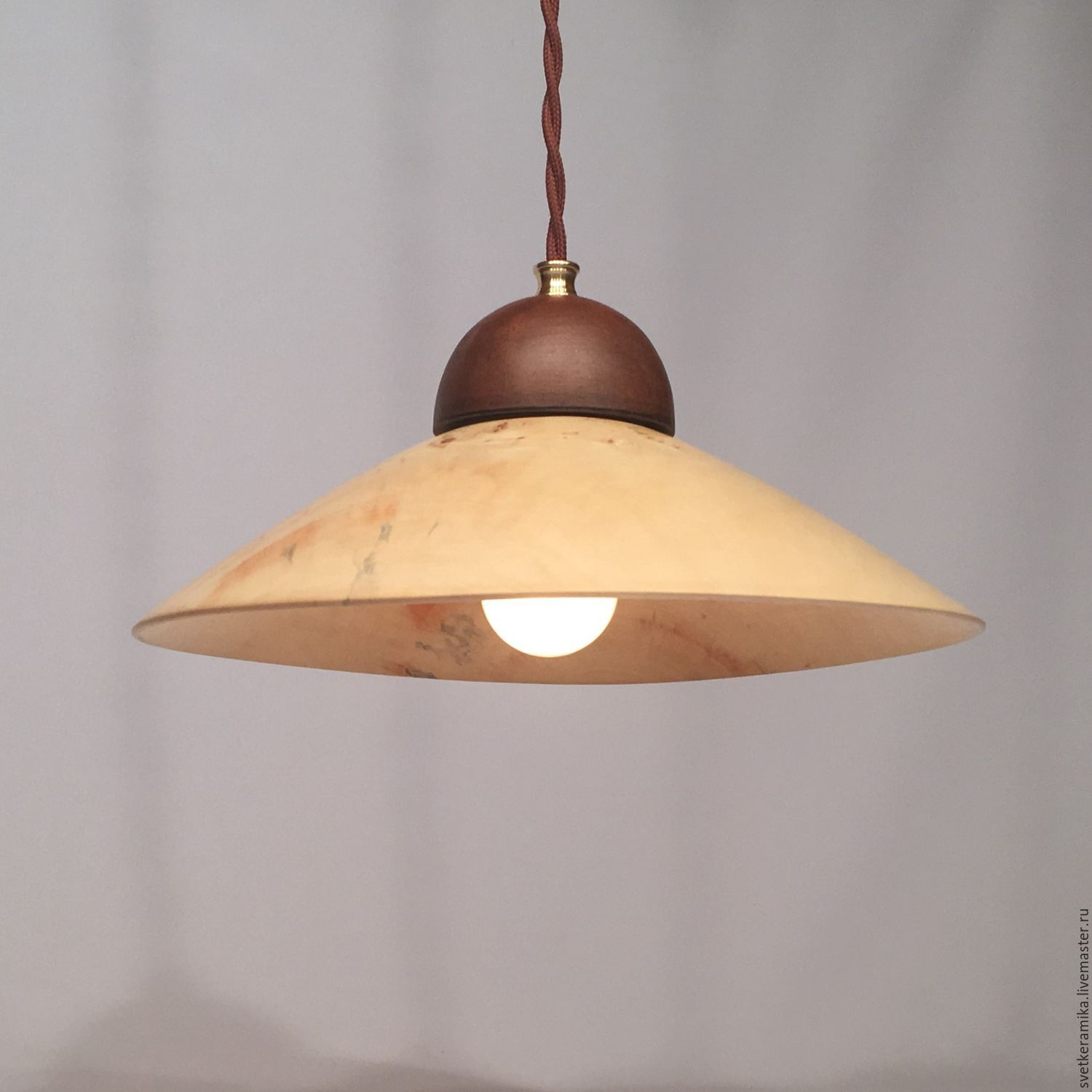Lamp made of wood and ceramics (diameter 33 cm), Ceiling and pendant lights, Moscow,  Фото №1