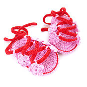 Работы для детей, handmade. Livemaster - original item Knitted booties sandals for girls, pink booties sandals. Handmade.