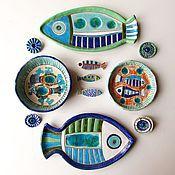 """Посуда ручной работы. Ярмарка Мастеров - ручная работа Тарелки керамические """"Рыбы"""". Handmade."""