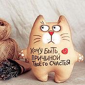 Мягкие игрушки ручной работы. Ярмарка Мастеров - ручная работа Кот Счастливчик (кофейные игрушки). Handmade.