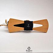 Аксессуары handmade. Livemaster - original item Wooden butterfly cravat Sailor, wood beech / dark blue with an anchor. Handmade.