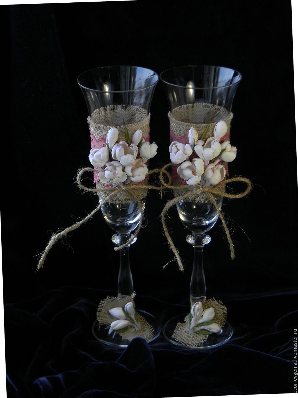 Свадебные аксессуары ручной работы. Ярмарка Мастеров - ручная работа. Купить Свадебные бокалы, Белые Крокусы, Фужеры для шампанского. Handmade.
