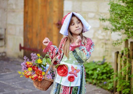 Одежда для девочек, ручной работы. Ярмарка Мастеров - ручная работа. Купить Платье Сказка  для девочки и фартук горошки рюшки Хлопок. Handmade.