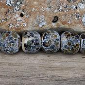 Материалы для творчества ручной работы. Ярмарка Мастеров - ручная работа Комплект 7 бусин окаменелости. Handmade.