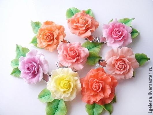 Заколки ручной работы. Ярмарка Мастеров - ручная работа. Купить зажим Роза. Handmade. Авторские украшения, цветы в украшении, украшение