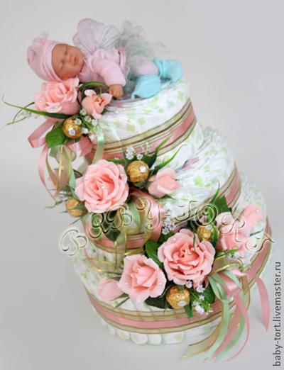 """Подарки для новорожденных, ручной работы. Ярмарка Мастеров - ручная работа. Купить VIP-подарок новорожденному """"Бэби-торт """"Розовые сны"""". Handmade."""