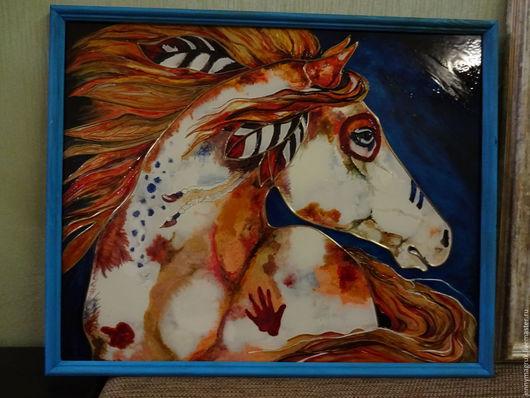 Животные ручной работы. Ярмарка Мастеров - ручная работа. Купить Боевой огненный конь. Handmade. Оранжевый, Роспись по стеклу, мустанг