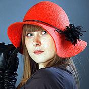 """Аксессуары ручной работы. Ярмарка Мастеров - ручная работа """"Коралловая"""" широкополая шляпа. Handmade."""