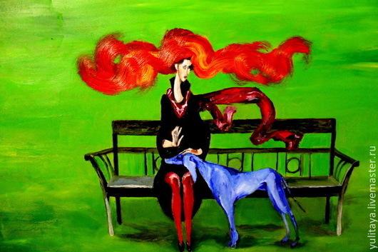 Фантазийные сюжеты ручной работы. Ярмарка Мастеров - ручная работа. Купить Синий пес картина маслом. Handmade. Ярко-зелёный