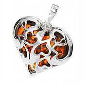 Украшения handmade. Livemaster - original item Silver pendant with amber
