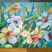 """Открытки ручной работы. Ярмарка Мастеров - ручная работа Поздравительная открытка """" Нарциссы после дождя """". Handmade."""