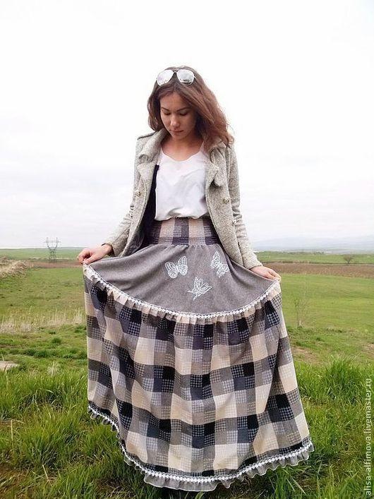 """Юбки ручной работы. Ярмарка Мастеров - ручная работа. Купить Длинная юбка """"Между небом и землей.."""" в пол. Handmade."""
