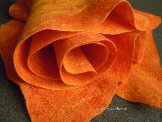 """Шарфы и шарфики ручной работы. Ярмарка Мастеров - ручная работа. Купить шарф валяный """"Цитрусовый"""". Handmade. Оранжевый, цитрус"""