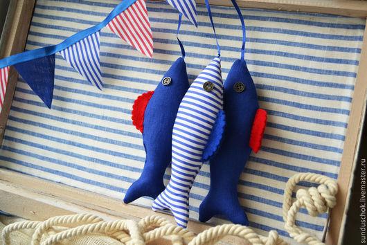 Детская ручной работы. Ярмарка Мастеров - ручная работа. Купить Для фотосессии рыбки текстильные, морской декор. Handmade. Синий