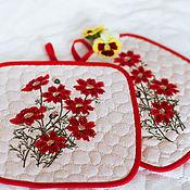 Для дома и интерьера ручной работы. Ярмарка Мастеров - ручная работа Прихватки для горячего Красные цветы(2). Handmade.