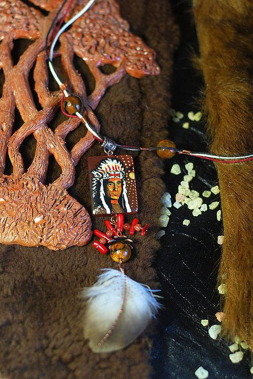 """Кулоны, подвески ручной работы. Ярмарка Мастеров - ручная работа. Купить Украшение-тотем в индейском стиле """"Вождь Белое Перо"""".. Handmade."""