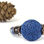 """Украшения ручной работы. Ярмарка Мастеров - ручная работа """"Озеро в лесу"""" Синий браслет из натурального камня. Коричневый. Handmade."""
