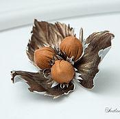 Украшения handmade. Livemaster - original item Brooch leather Three nuts for Cinderella. Decoration leather.. Handmade.