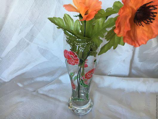 """Вазы ручной работы. Ярмарка Мастеров - ручная работа. Купить Ваза стеклянная """"Маки"""". Handmade. Ваза для цветов, ваза"""