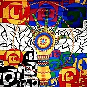 """Аксессуары ручной работы. Ярмарка Мастеров - ручная работа Платок  """"Хундертвассер"""" батик. Handmade."""
