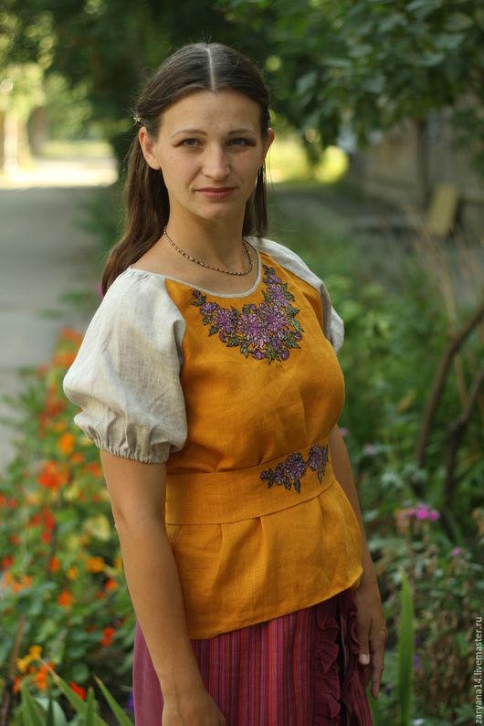 Блузки ручной работы. Ярмарка Мастеров - ручная работа. Купить Горчичная блузка с вышивкой. Handmade. Оранжевый, славянская блузка