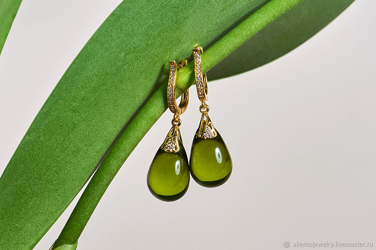 Olive drop earrings with English lock in 14k gold, Earrings, Moscow,  Фото №1