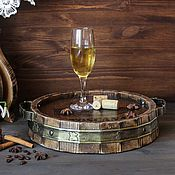 Для дома и интерьера handmade. Livemaster - original item Round tray in the form of cut barrels made of pine