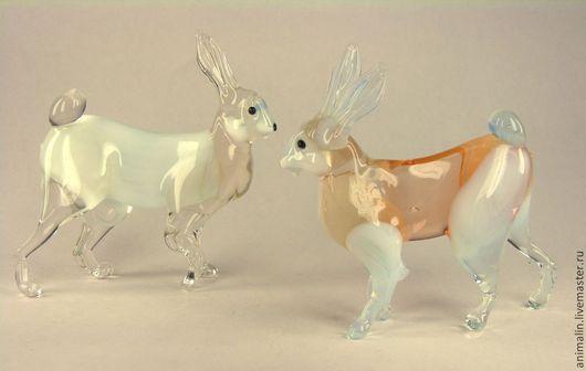 Миниатюра ручной работы. Ярмарка Мастеров - ручная работа. Купить Фигурка из цветного стекла  заяц Русак. Handmade. Заяц, стекло