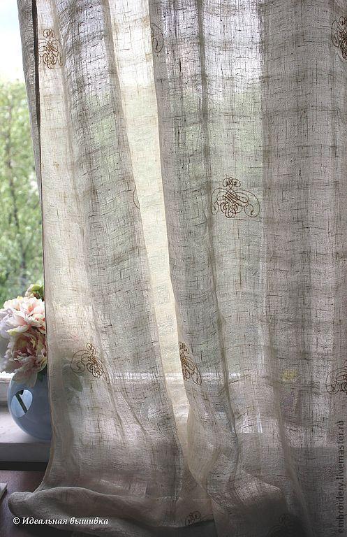 Текстиль, ковры ручной работы. Ярмарка Мастеров - ручная работа. Купить Шторы льняные с кружевом и вышивкой. Handmade. Шторы