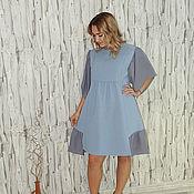Одежда ручной работы. Ярмарка Мастеров - ручная работа Платье серо-голубое П-207. Handmade.