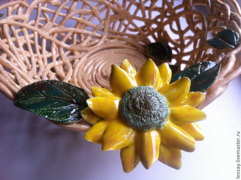 Fruit bowl Sunflower. Woven ceramics Elena Zaichenko