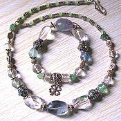 Украшения handmade. Livemaster - original item Necklace and bracelet of green fluorite, rock crystal.. Handmade.