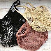 Сумка-мешок ручной работы. Ярмарка Мастеров - ручная работа Вязаные сумки из трикотажной пряжи авоська. Handmade.