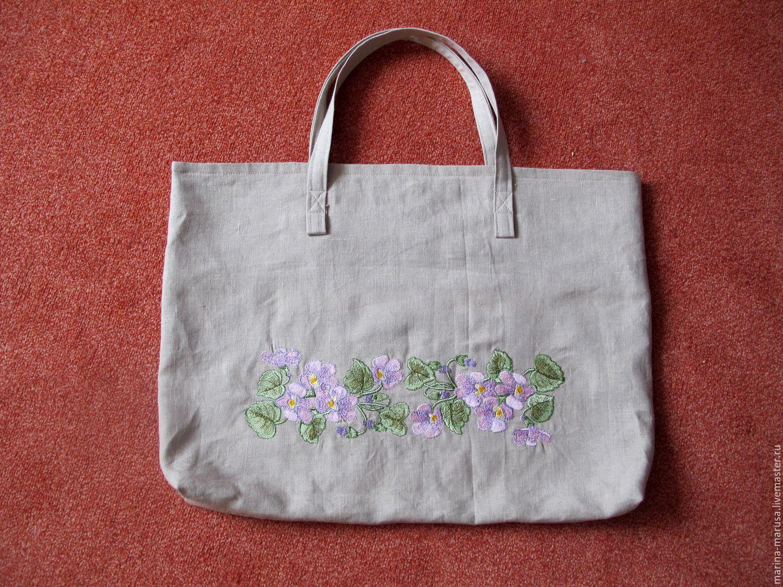 Льняная сумка с вышивкой