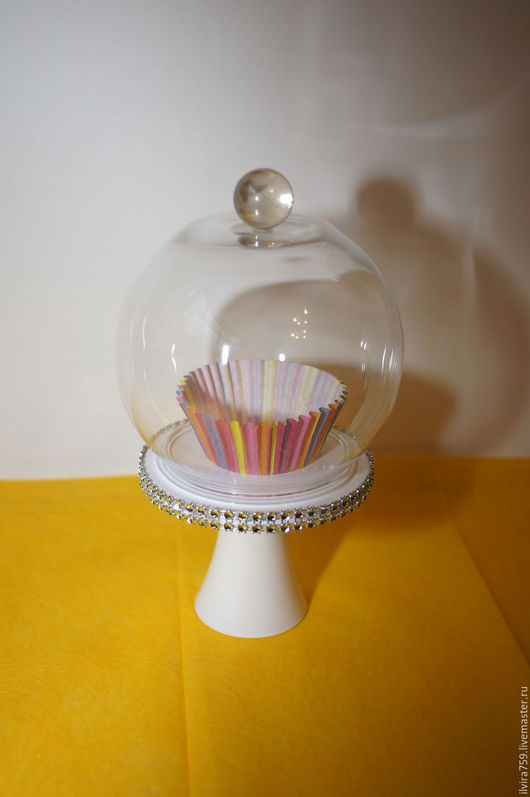 Декоративная посуда ручной работы. Ярмарка Мастеров - ручная работа. Купить Блюдо с куполом для капкейка.. Handmade. Посуда ручной работы