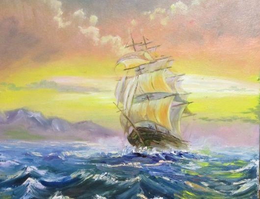 Картина маслом из серии `Море`. Парусник на закате.