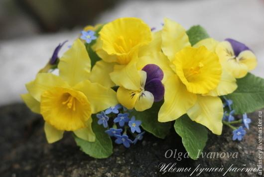 """Заколки ручной работы. Ярмарка Мастеров - ручная работа. Купить Зажим для волос """"Первоцветы"""". Handmade. Желтый, весенние цветы"""