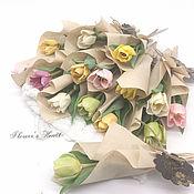 Цветы ручной работы. Ярмарка Мастеров - ручная работа Цветы: Тюльпаны мини из холодного фарфора. Handmade.