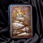 Для дома и интерьера handmade. Livemaster - original item Box: Iosifo-Volotsky monastery, lacquer miniature on papier mache. Handmade.