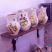 Посуда handmade. Livemaster - original item Pitcher clay wildflowers. Handmade.
