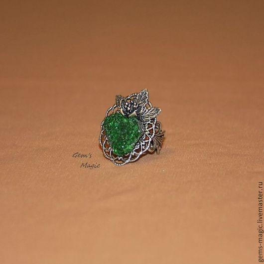"""Кольца ручной работы. Ярмарка Мастеров - ручная работа. Купить Кольцо из уваровита """"Чудесный цветок"""". Handmade. Зеленый, зеленый гранат"""