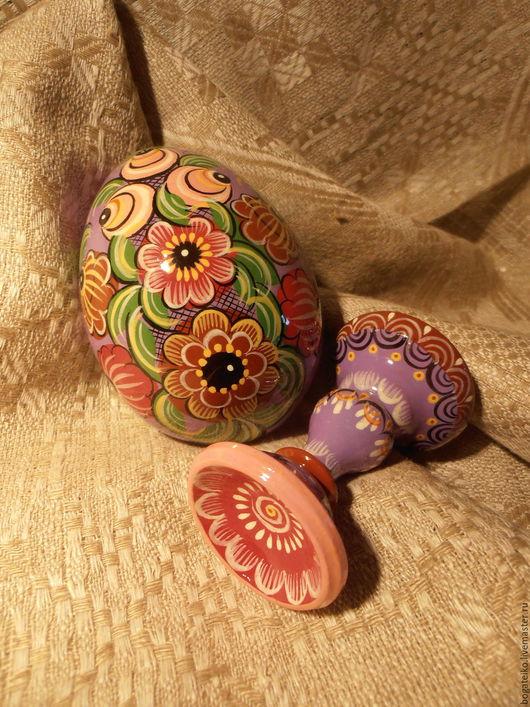 Сувениры ручной работы. Ярмарка Мастеров - ручная работа. Купить Яйцо Пасхальное (на подставке) Городец. Handmade. Сиреневый