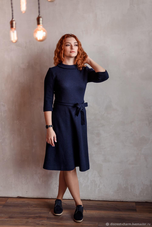 73116d2dab0b81f Платья ручной работы. Тёплое зимнее синее платье из шерстяного лодена с  длинным рукавом.