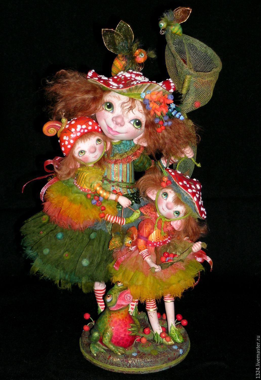 Куклы Дочки-матери яркая семья мухоморов в сказочном лесу, Куклы, Хотьково, Фото №1