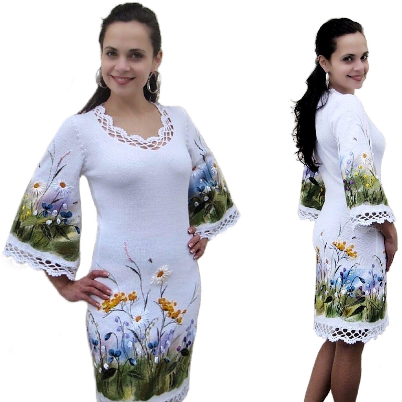 """Платья ручной работы. Ярмарка Мастеров - ручная работа. Купить """"Перед грозой"""". Handmade. Вышивка лентами, летнее платье, кашемир"""