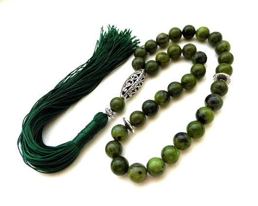 """Четки ручной работы. Ярмарка Мастеров - ручная работа. Купить Четки из нефрита """"Истина"""" 33 камня с кистью зеленые. Handmade."""