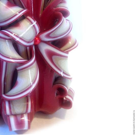 Свечи ручной работы. Ярмарка Мастеров - ручная работа. Купить Резная свеча Марсала и айвори (арт.308). Handmade.