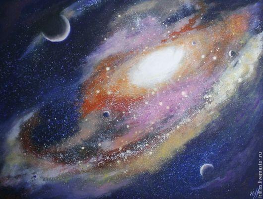 """Пейзаж ручной работы. Ярмарка Мастеров - ручная работа. Купить Картина """"Космос"""". Handmade. Разноцветный, картина в подарок, масло, космос"""